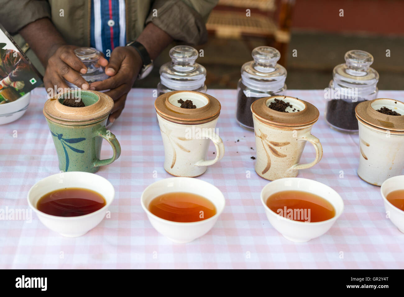 Tea tasting at the Kolukkumalai Tea Estate, Tamil Nadu, India - Stock Image