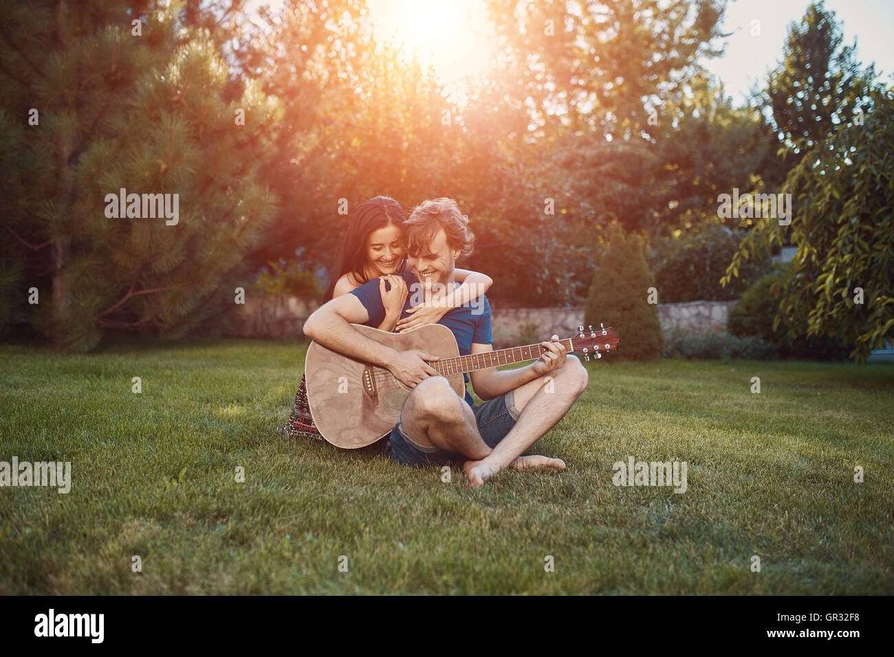 Handsome romantic couple - Stock Image