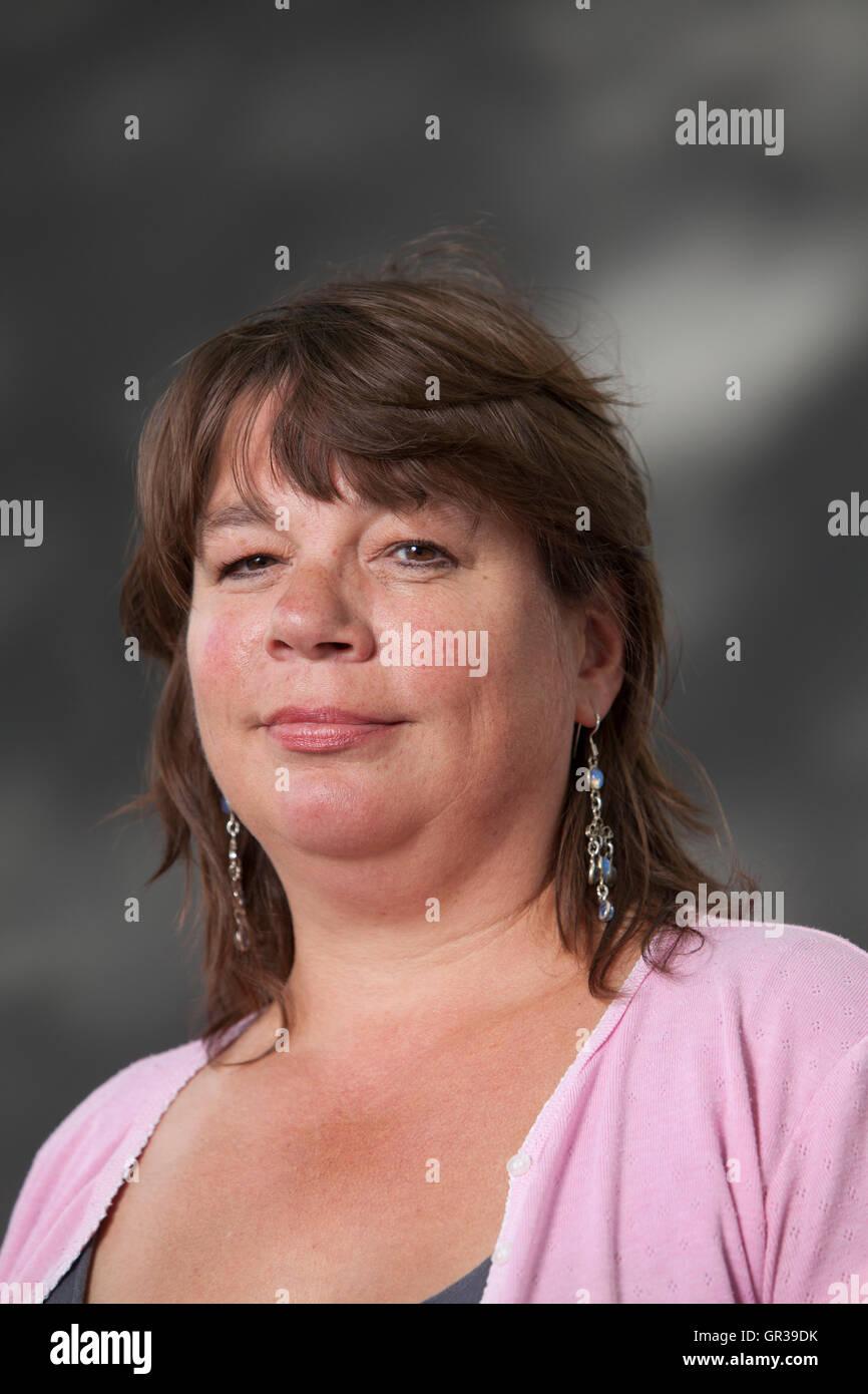 Lucy Popescu, the writer, editor and arts critic, at the Edinburgh International Book Festival. Edinburgh, Scotland. - Stock Image