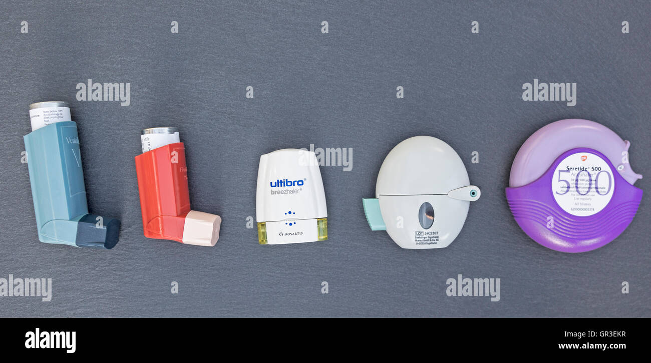 A range of inhalers used to treat asthma and chronic obstructive pulmonary disease. - Stock Image