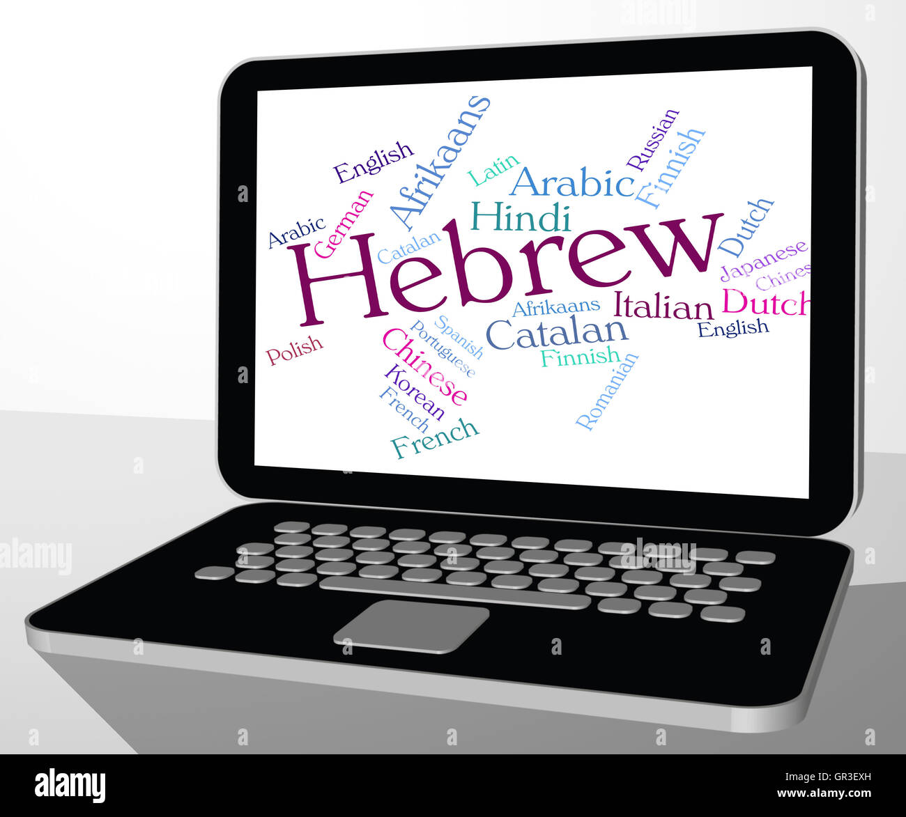 Hebrew Language Indicating Foreign Wordcloud And Lingo - Stock Image