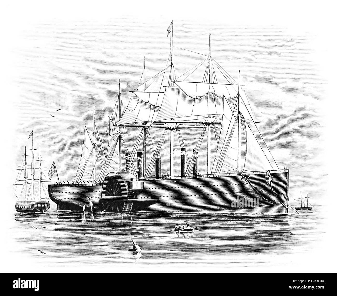 SS GREAT EASTERN in an 1877 engraving - Stock Image