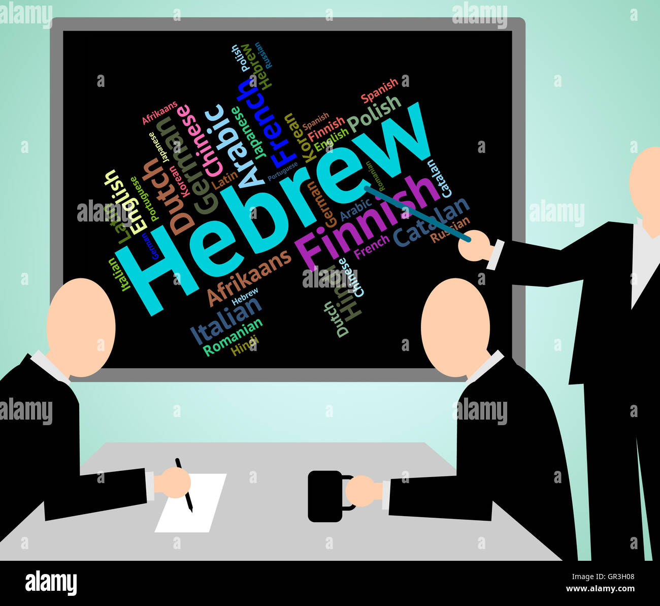 Hebrew Language Showing Israel Foreign And Translate - Stock Image