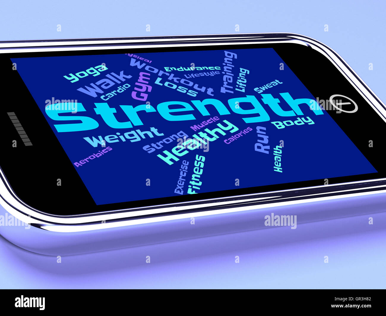 Strength Words Showing Strengthen Sturdiness And Forceful - Stock Image