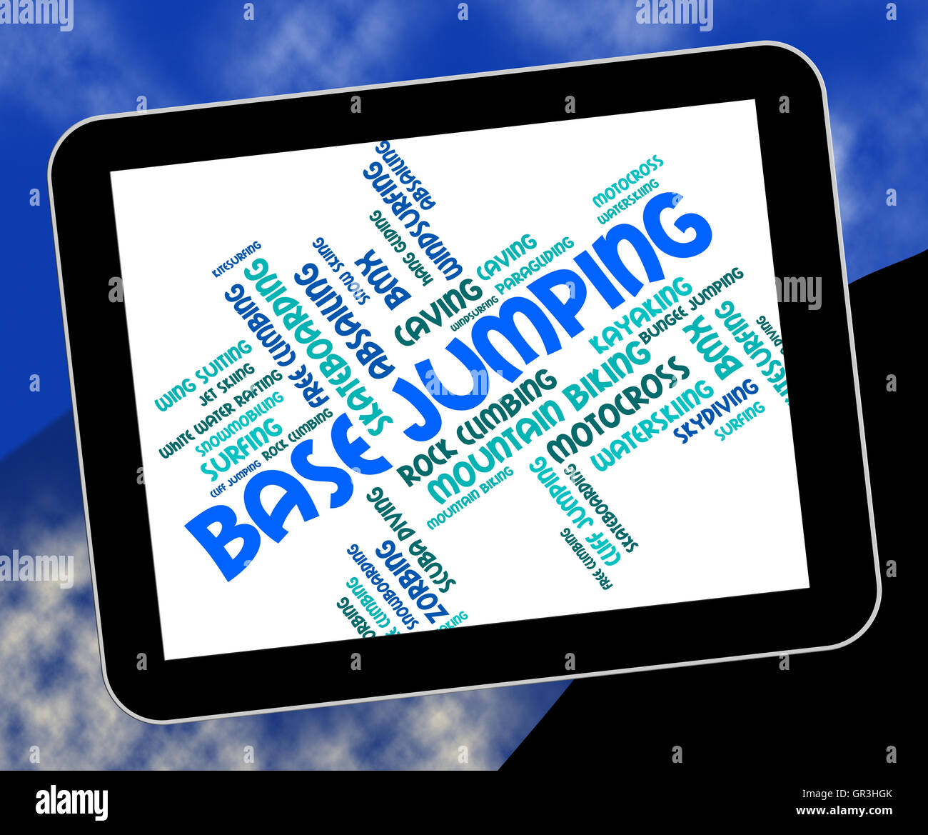 Base Jumping Meaning Base-Jumping Word And Parachuting - Stock Image