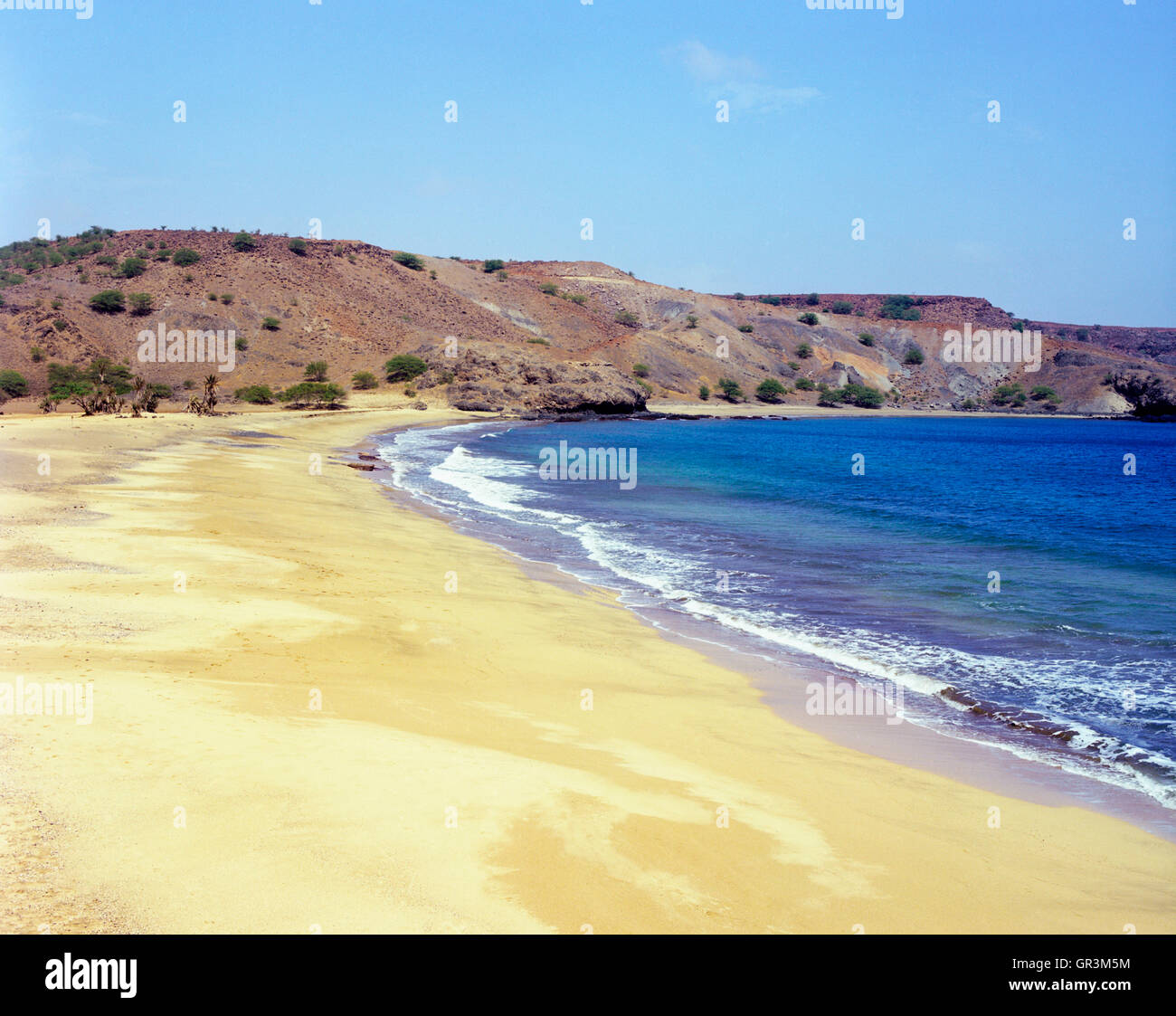 The main beach and bay at Sao Francisco, Santiago, Cape Verde Islands, Africa. - Stock Image