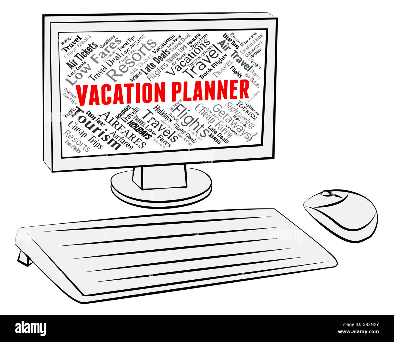 vacation planner meaning computers scheduler and vacational stock