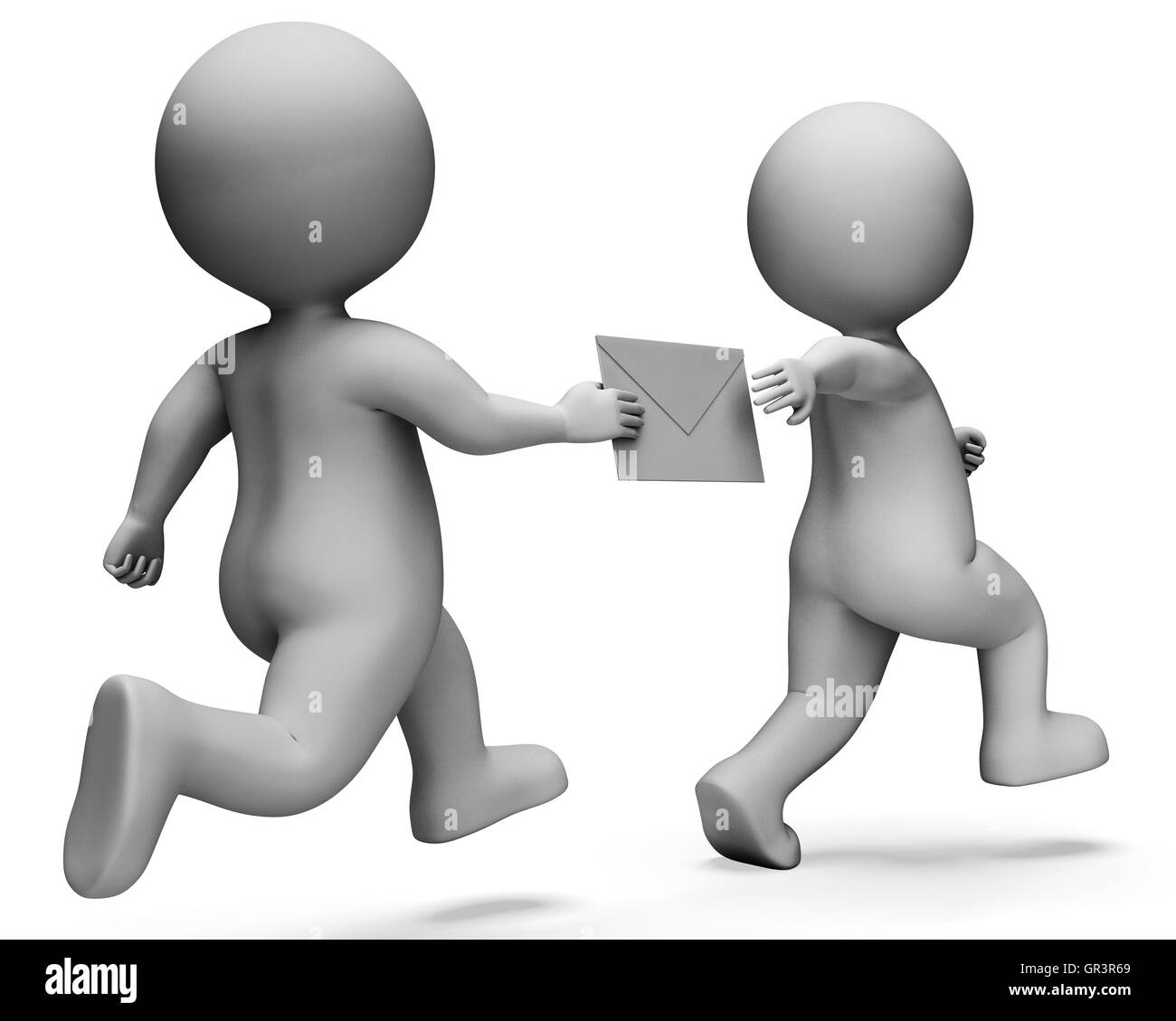 Relay Character Indicating Passing The Baton And Deliver 3d Rendering - Stock Image
