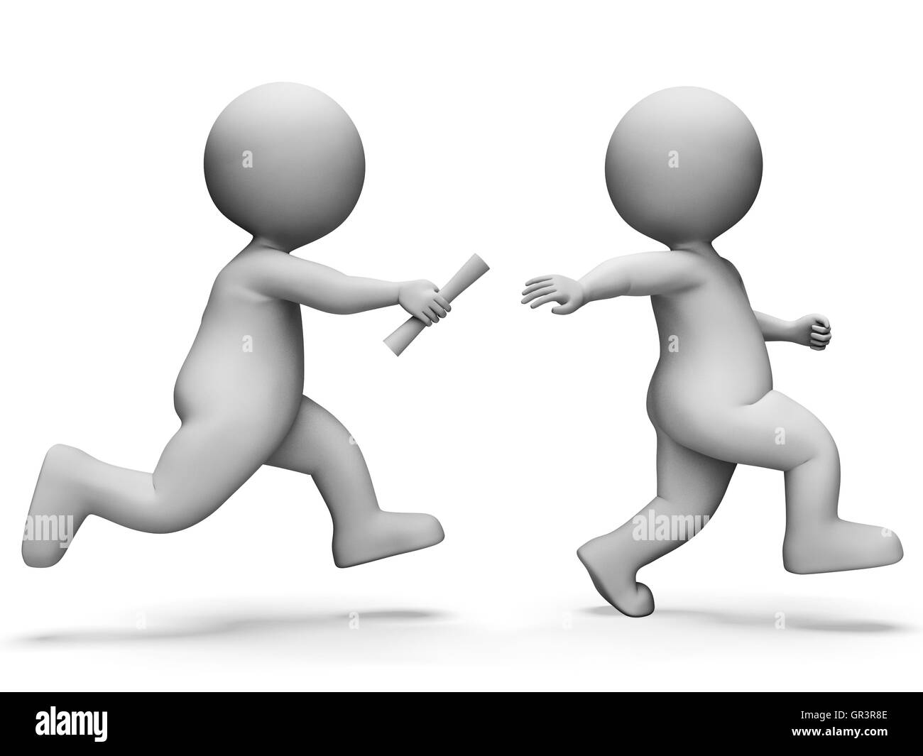 Athletics Race Meaning Track And Field And Passing The Baton 3d Rendering - Stock Image