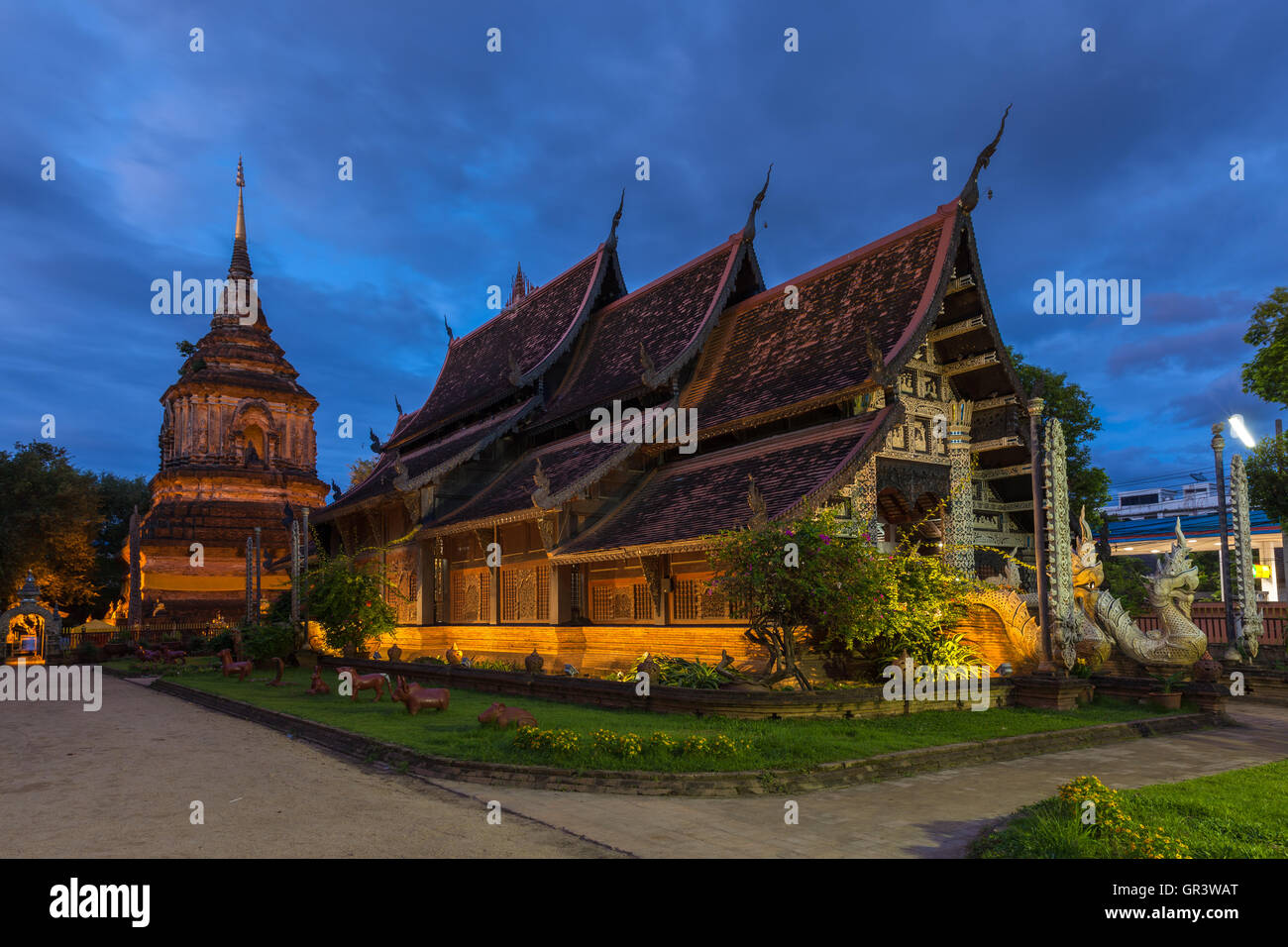 at dusk, one of the oldest temples in Chiang Mai, Thailand - Stock Image
