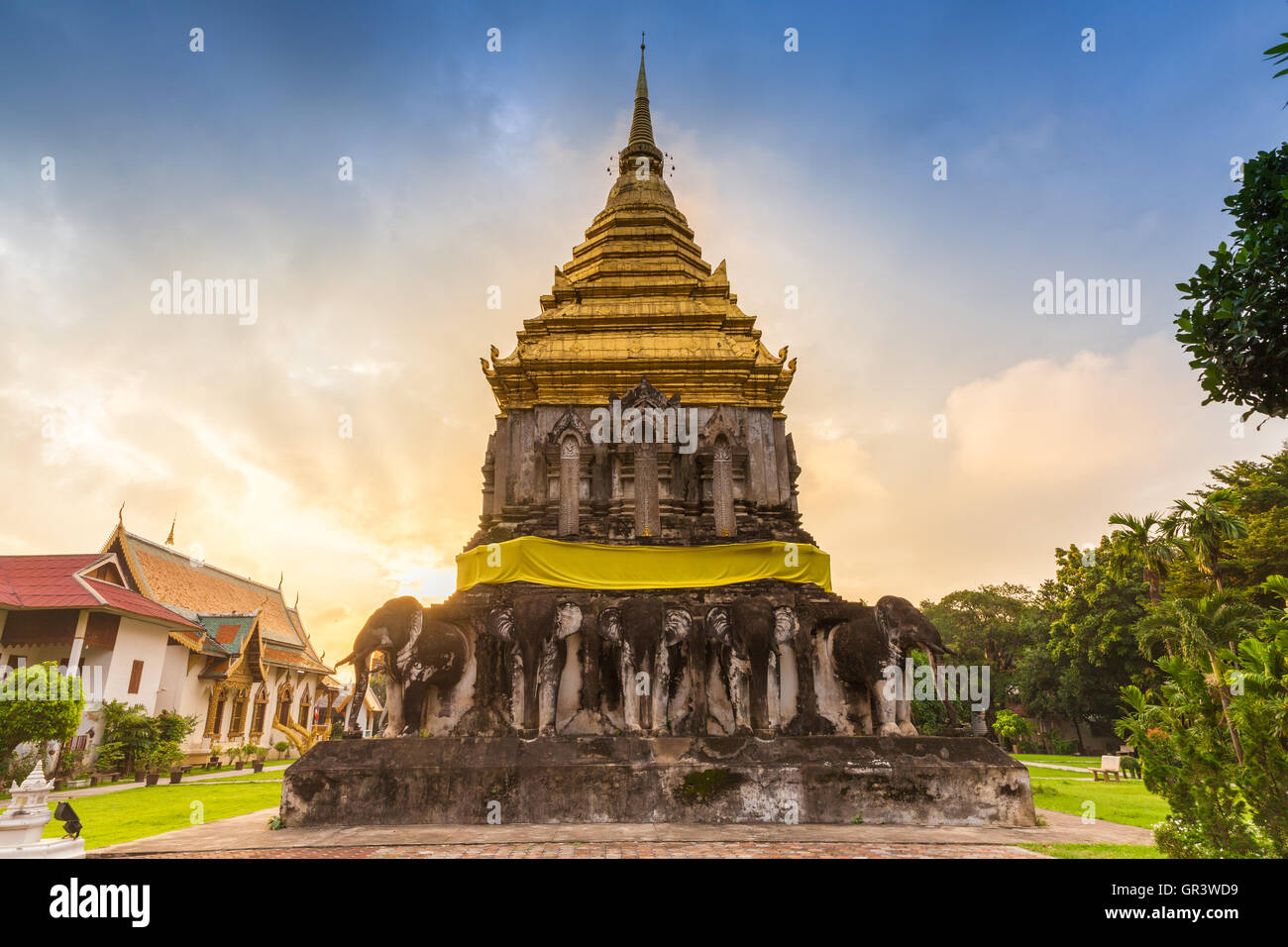 Wat Chiang Man at sunrise, the oldest temple in Chiang Mai, Thailand. - Stock Image