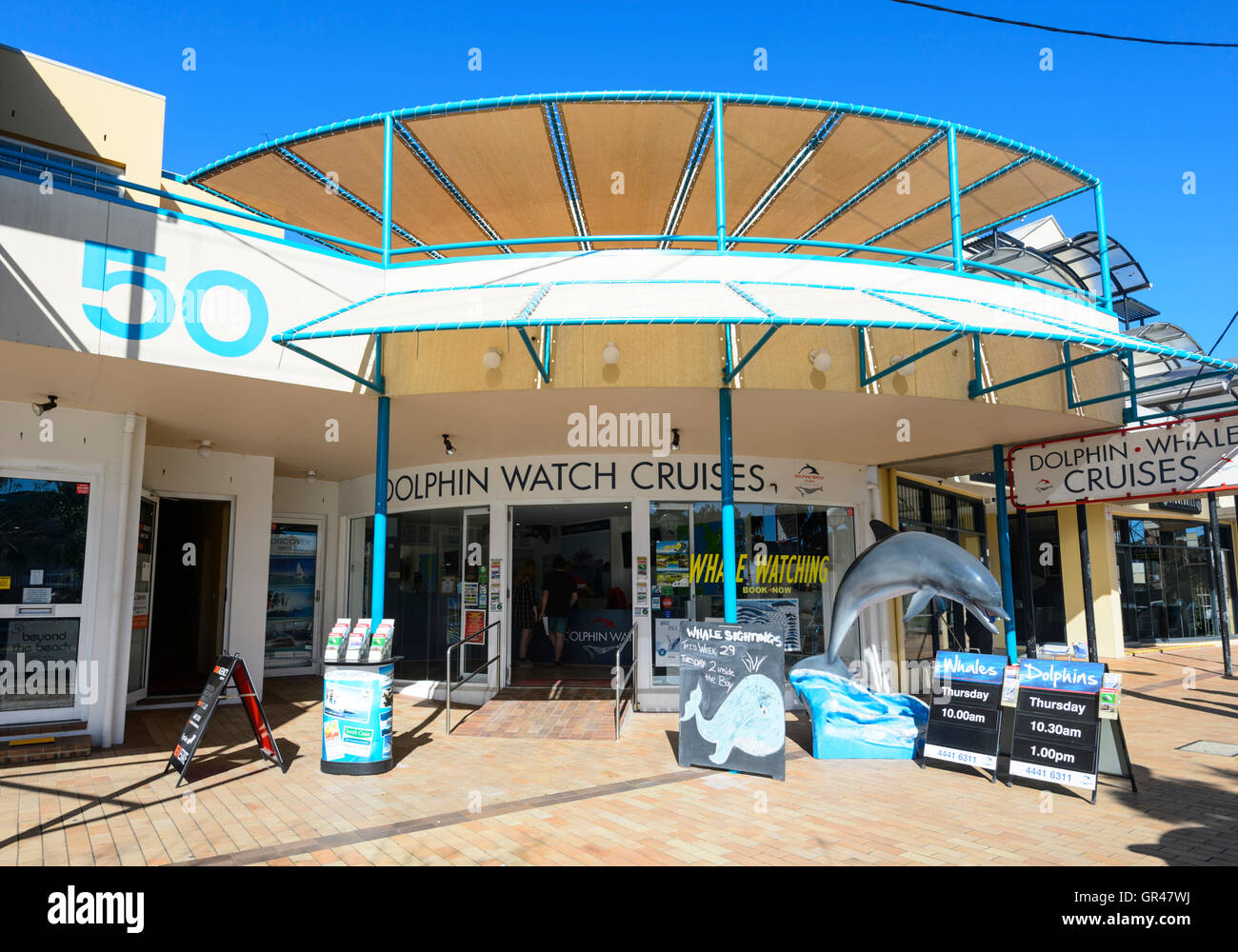 Dolphin Watch Cruises Agency in Huskisson, Jervis Bay, New South Wales, NSW, Australia - Stock Image
