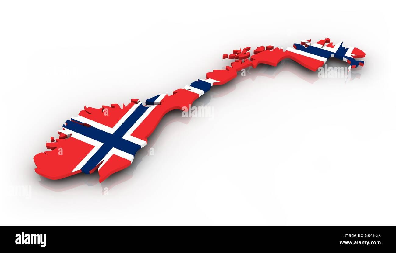 Norway map - Stock Image