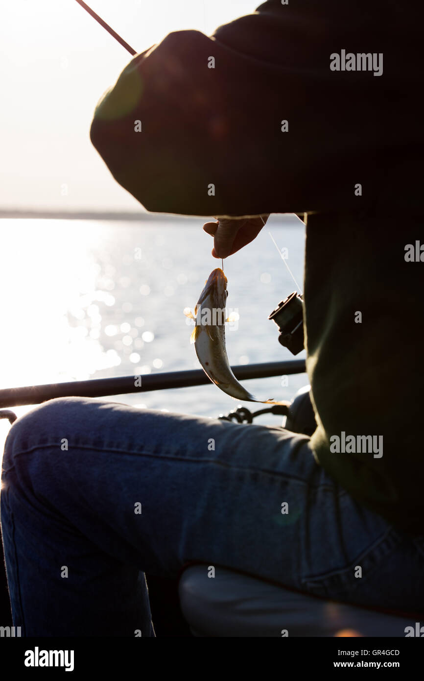 fishing on lake Stock Photo