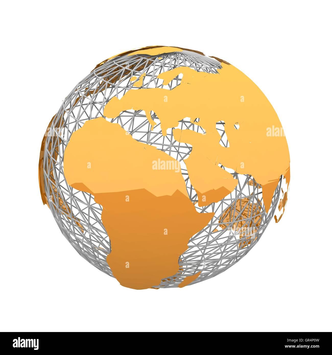 orange world map - Stock Image