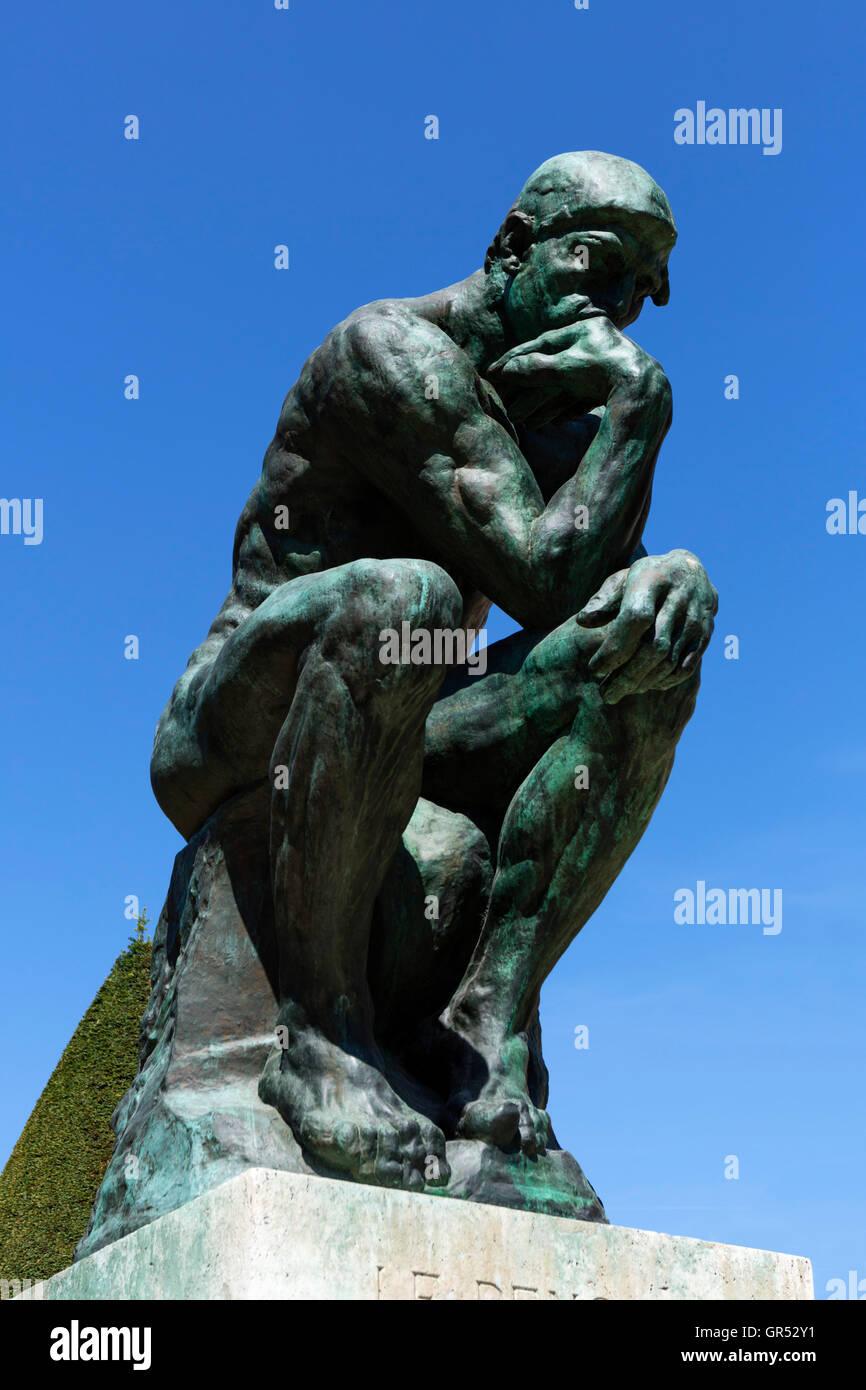 Auguste Rodin's Le Penseur (The Thinker) at The Musée Rodin, Paris, France - Stock Image