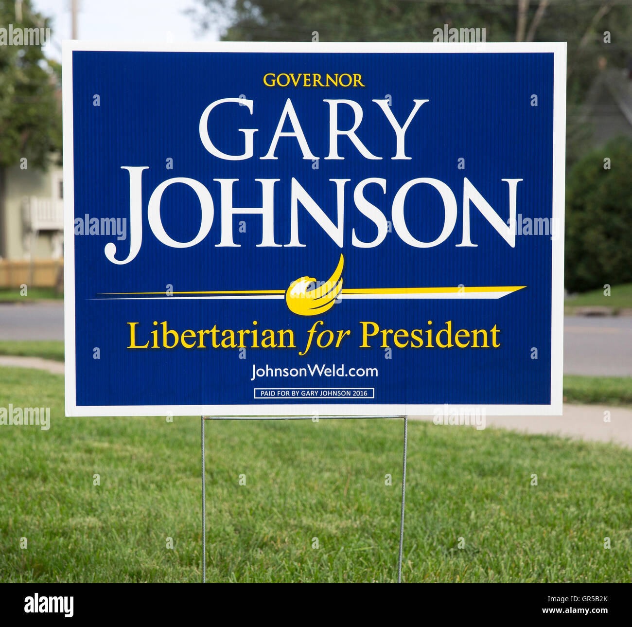 2016 yard sign for Libertarian candidate Gary Johnson for United States president - Stock Image