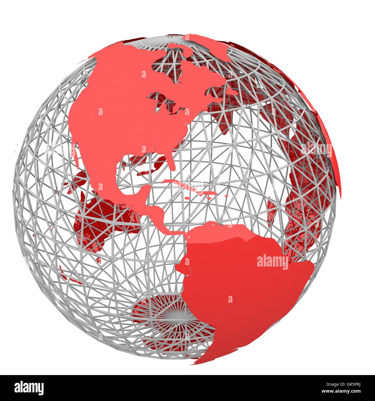 red world map - Stock Image