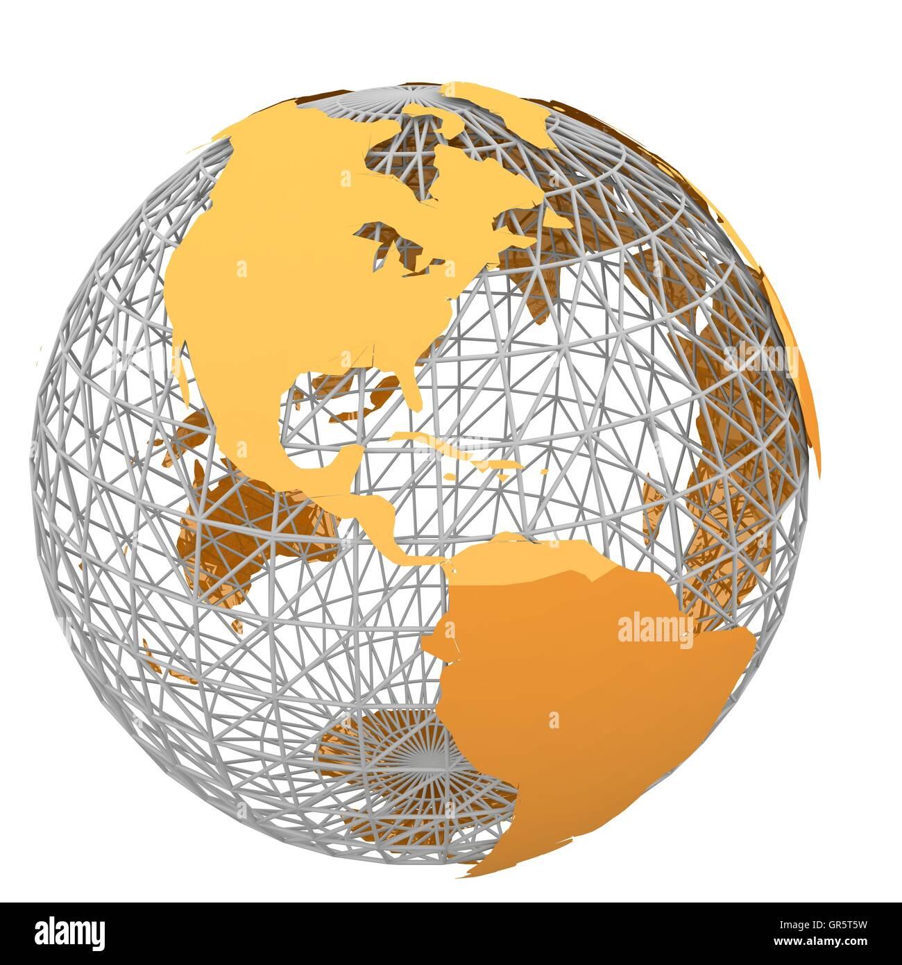 orange world map 2 - Stock Image