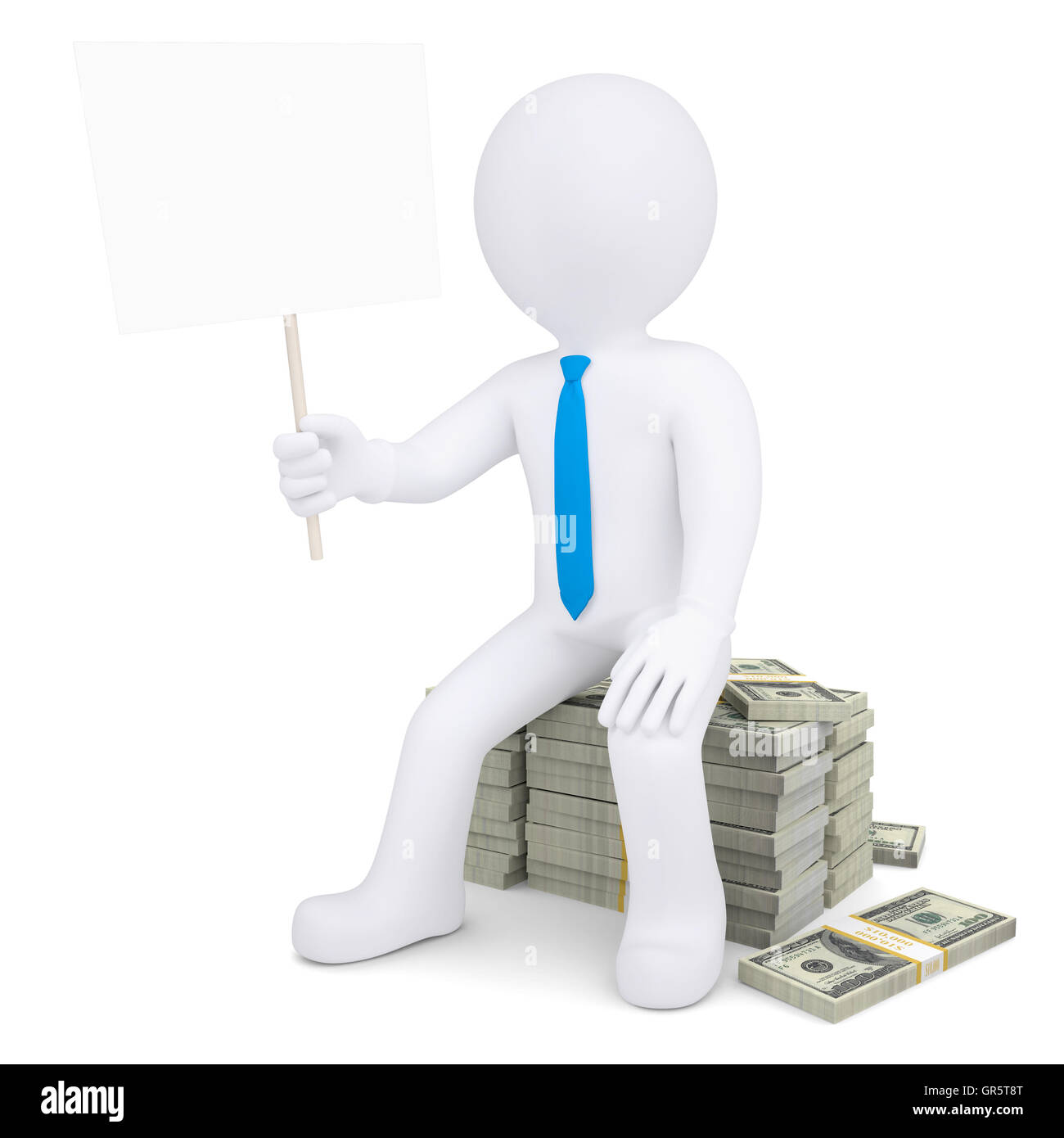 3d white man with placard sitting on pile of money - Stock Image