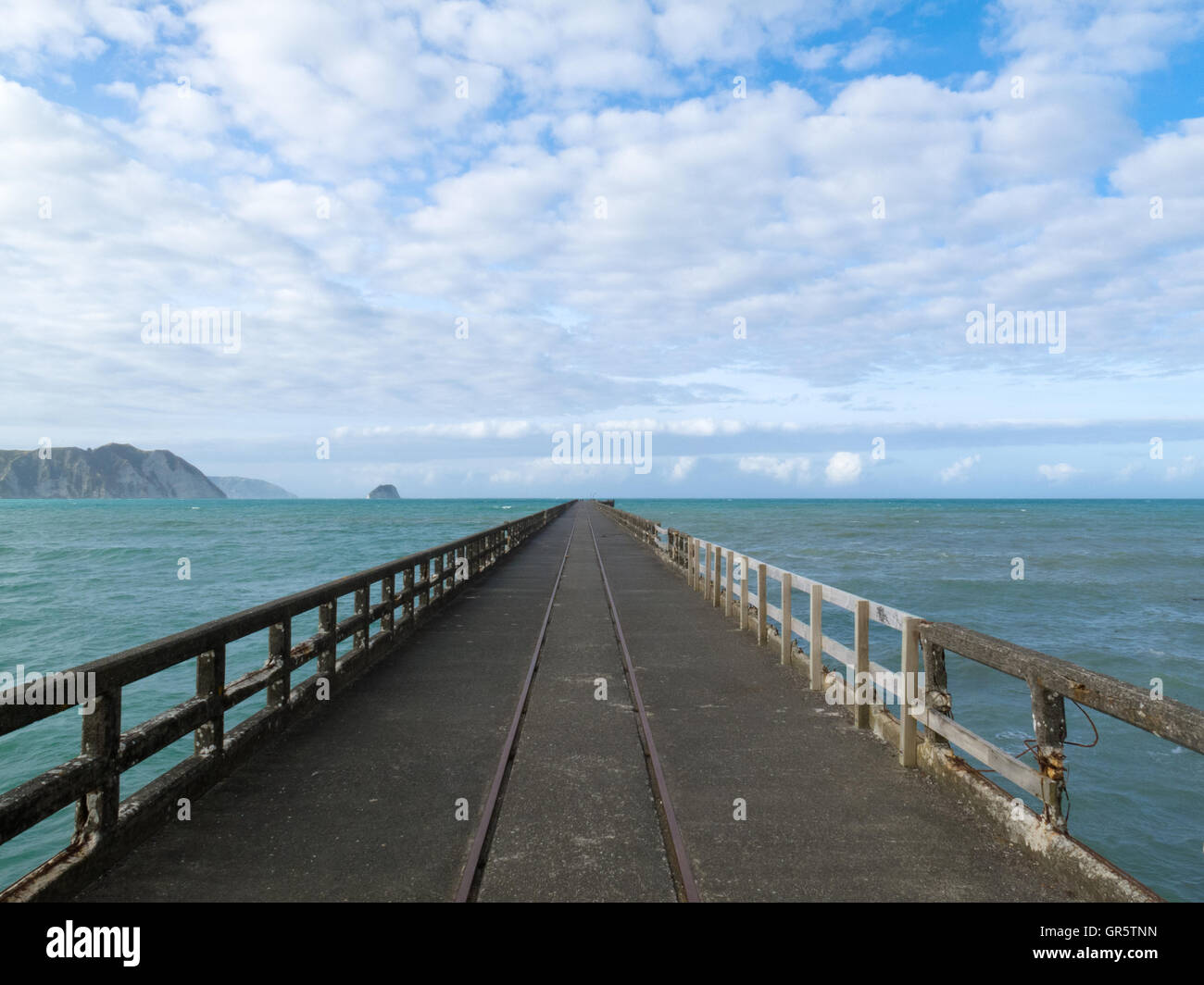 Tolaga Bay Wharf  the longest pier of New Zealand - Stock Image
