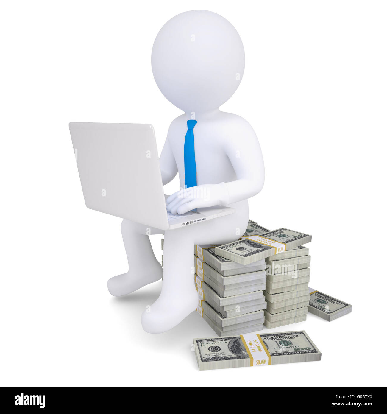 3d man with laptop sitting on a pile of money - Stock Image