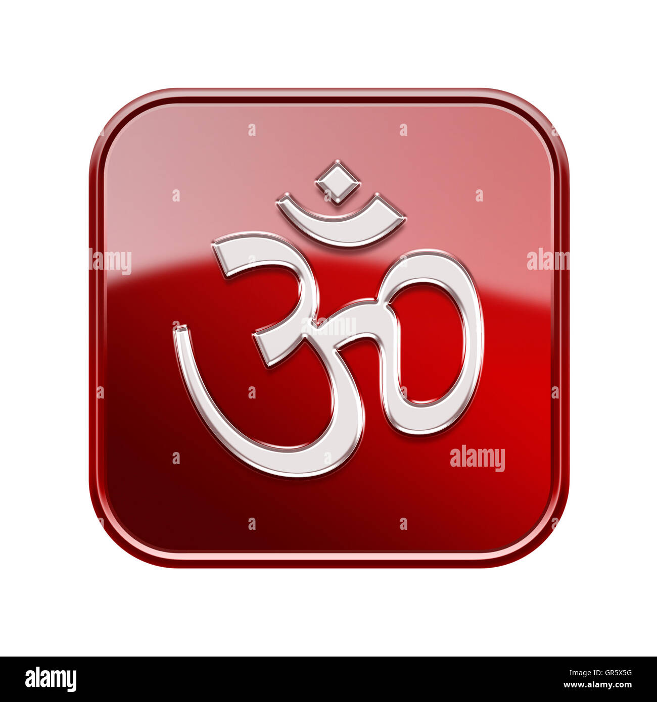 Om Symbol icon glossy red, isolated on white background - Stock Image
