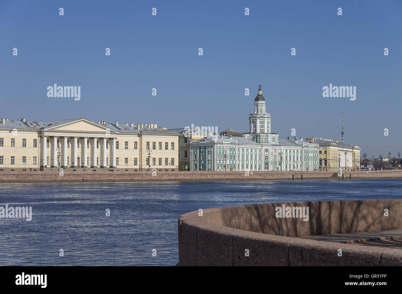 View to Neva river embankment and Kunstkamera museum, Sankt-Peterburg, Russia - Stock Image