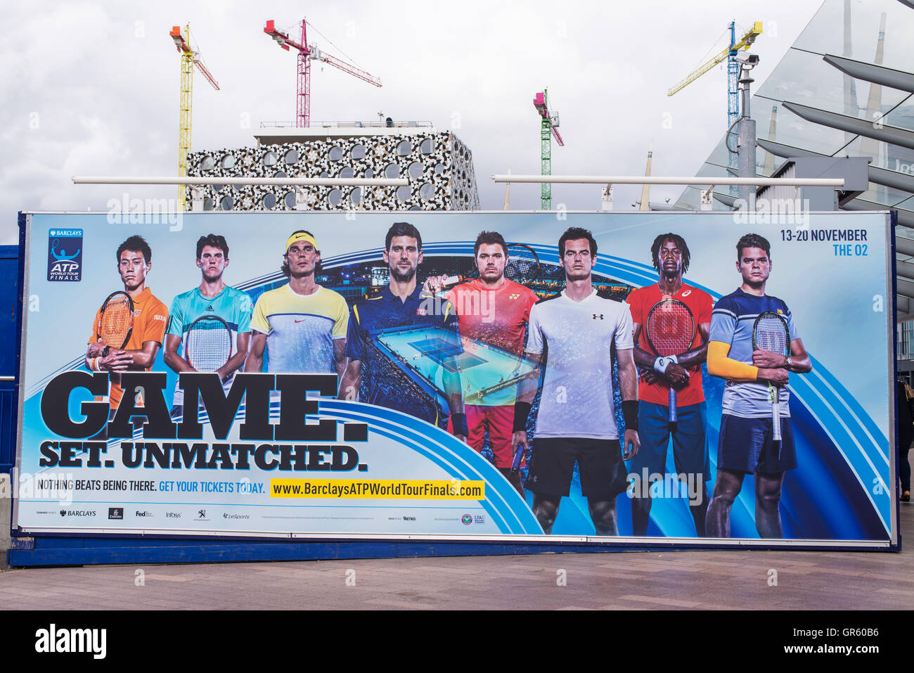 Giant billboard promoting the Barclays ATP World Tour Finals 2016 which will be held in London 13-20 November 2016. - Stock Image