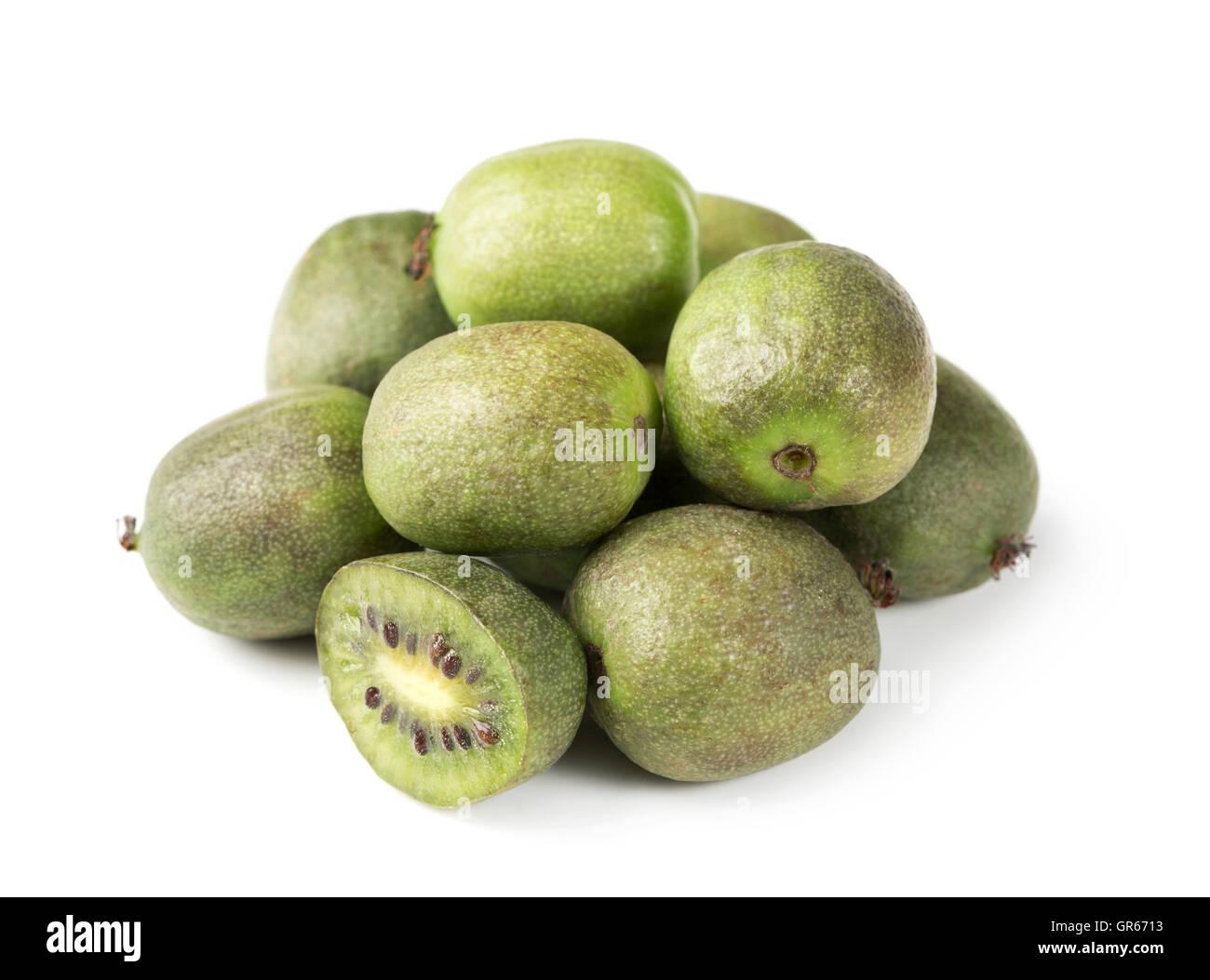 Kiwi berry isolated on a white background - Stock Image
