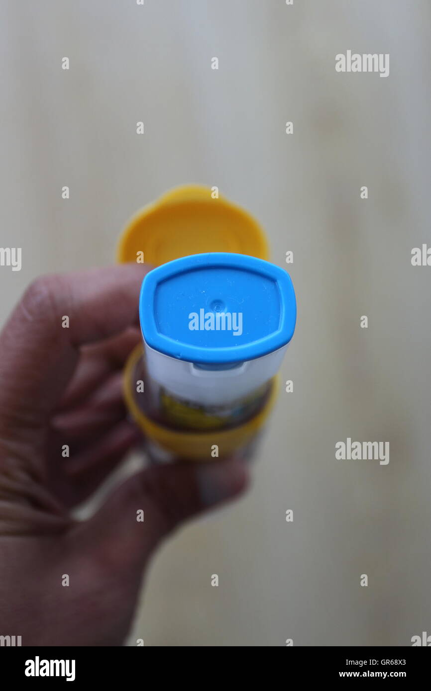 Close up image of adult  EpiPen blue cap - Adrenalin injection for Anaphylaxis - Stock Image