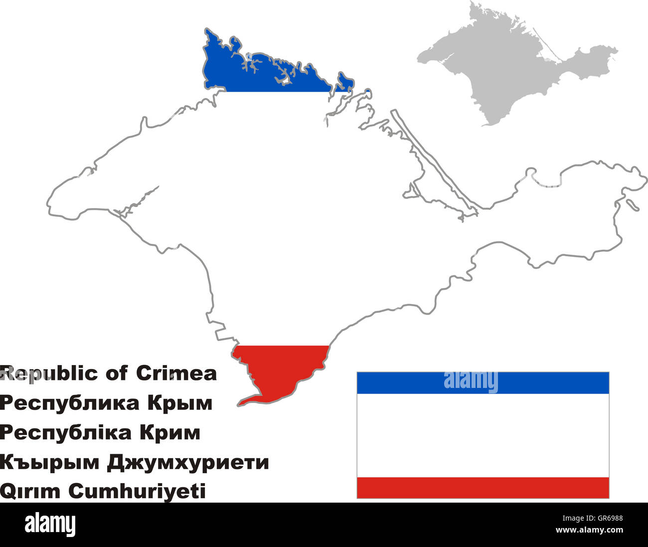 Outline Map Of Crimea With Flag Regions Of Russia Vector Stock