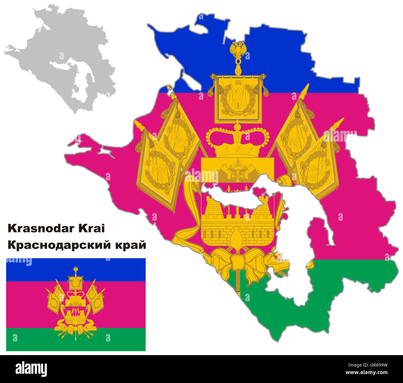 Outline Map Of Krasnodar Krai With Flag Regions Of Russia Vector Stock Photo Alamy