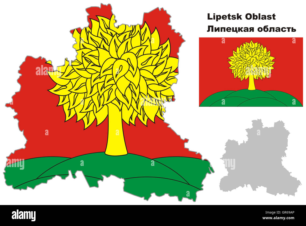 Outline map of Lipetsk Oblast with flag Regions of Russia Vector