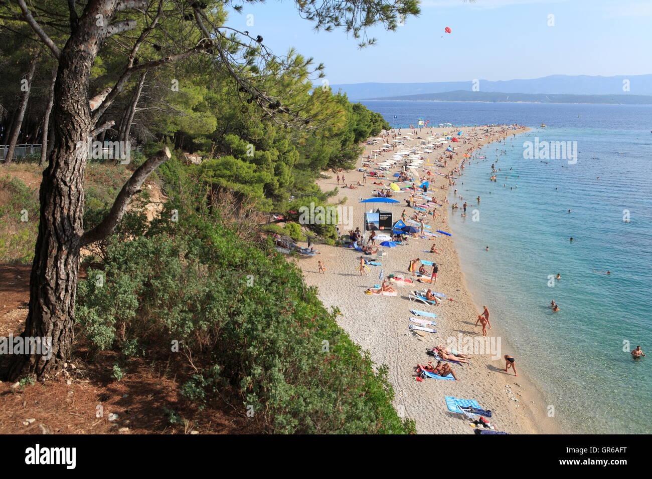 Beach, Golden Horn, Bol, Island Brac, Dalmatia, Croatia, Europe - Stock Image