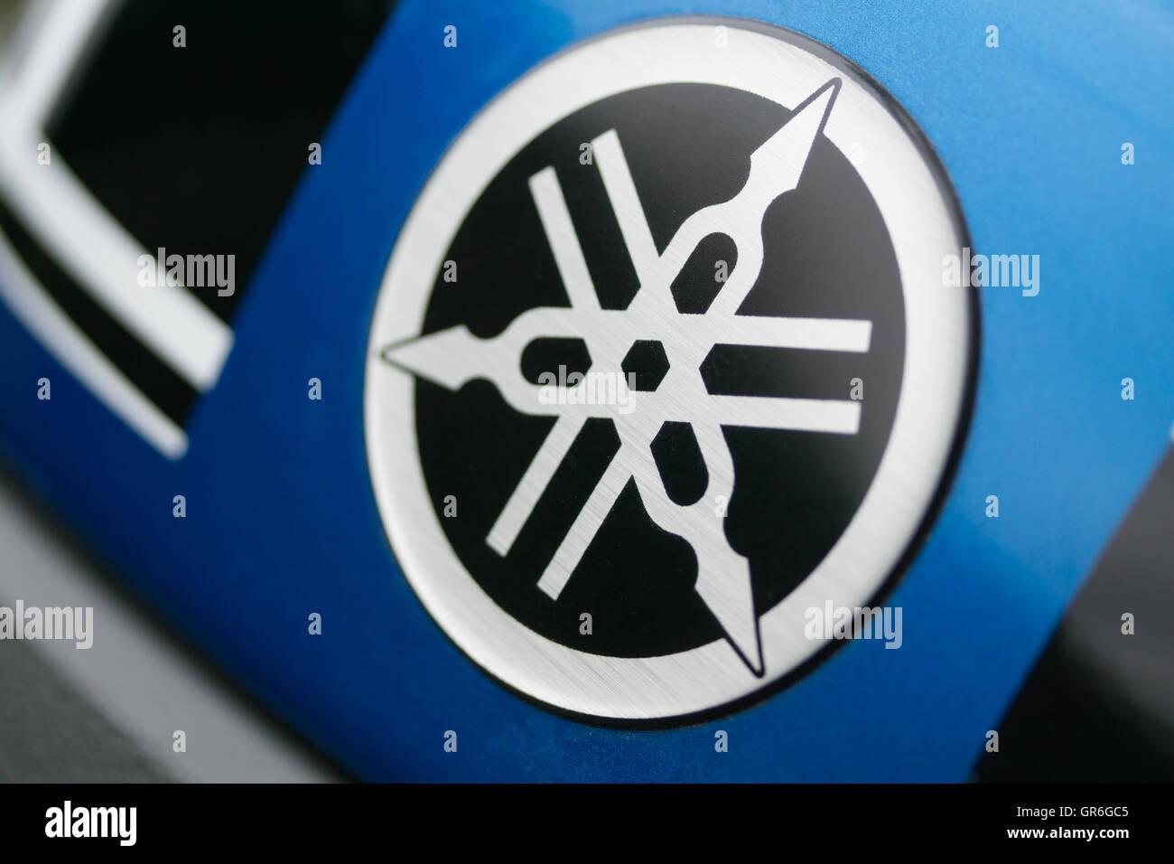 Company logo of the Yamaha Motor Company Limited set on a Tenere xt660Z motorcycle.