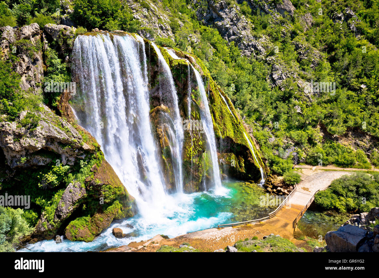 Krcic waterfall in Knin scenic view, Dalmatian inland, Croatia - Stock Image
