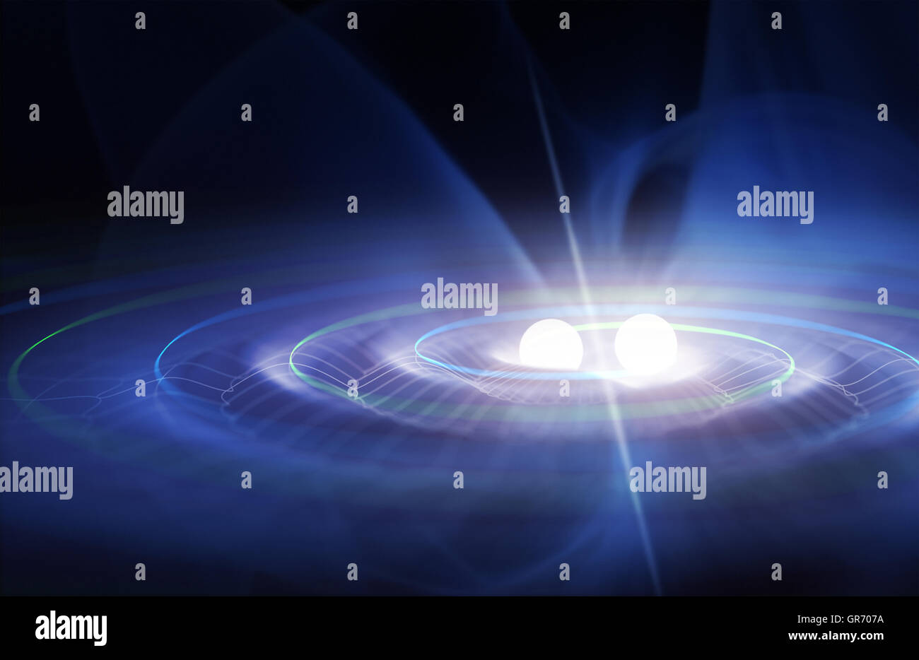 Gravitational waves in the binary system - Stock Image