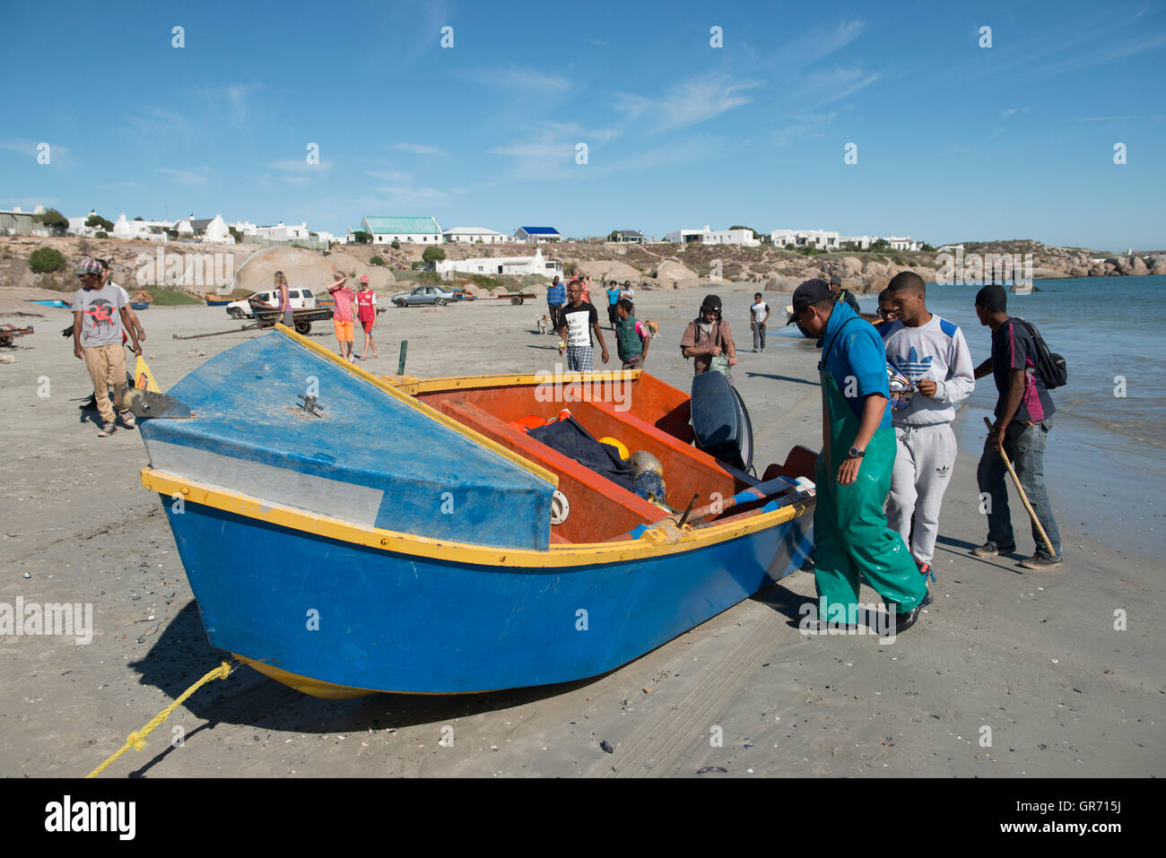 Crayfish catcher preparing their boat, Paternoster, Western Cape, South Africa - Stock Image
