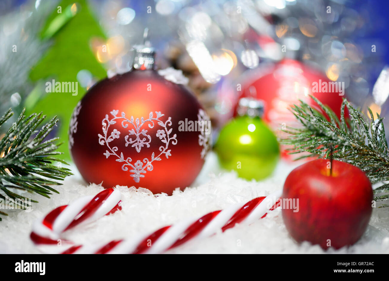 Christmas Bauble And Candy Cane, Christmas Time - Stock Image