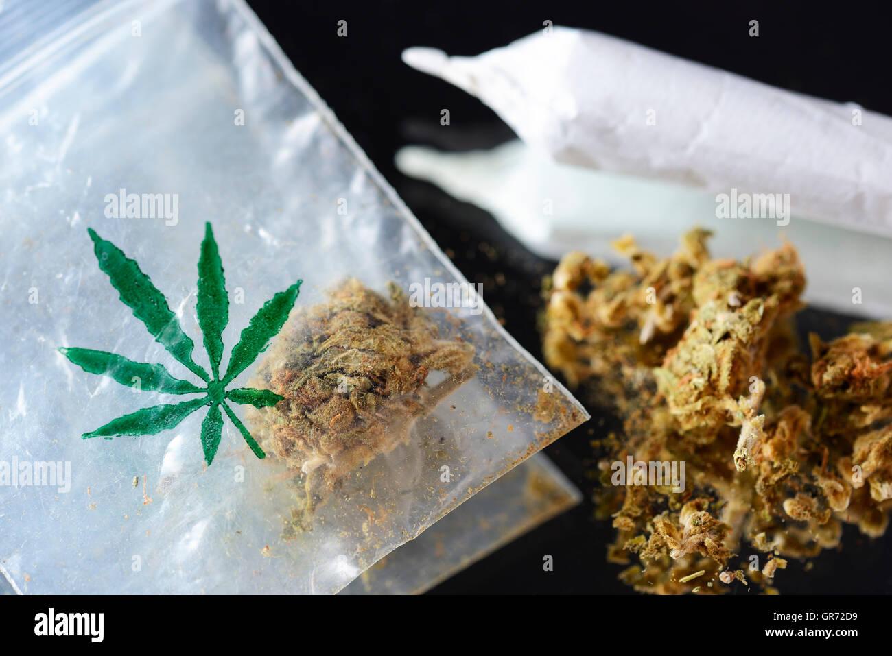 Joint And Marijuana - Stock Image