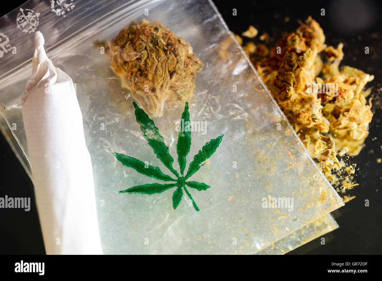 Marijuana And Joint - Stock Image