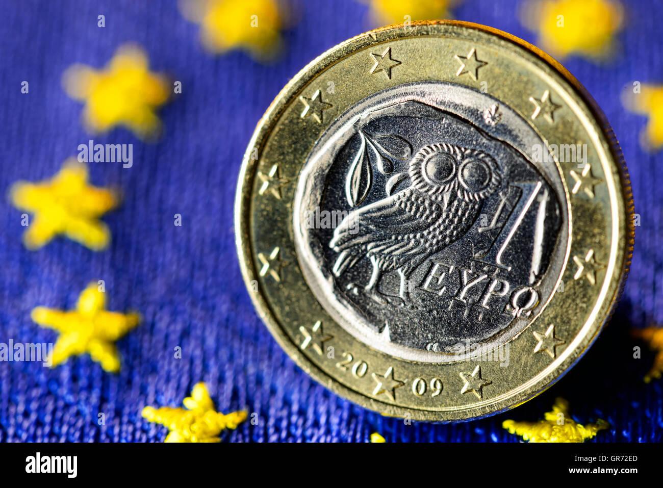 Greek Euro Coin And Eu Flag - Stock Image