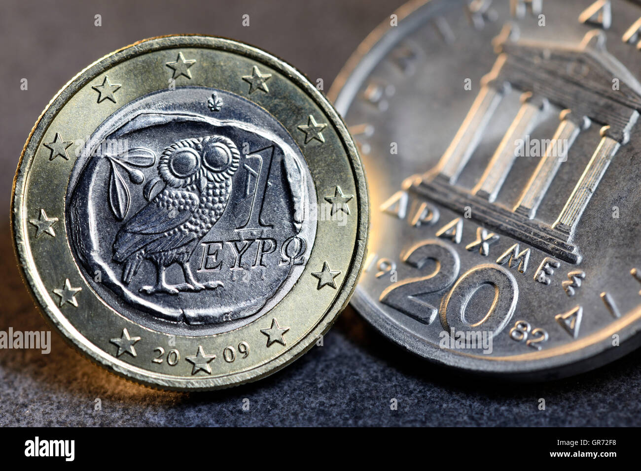 Greek Euro And Drachma Coin - Stock Image
