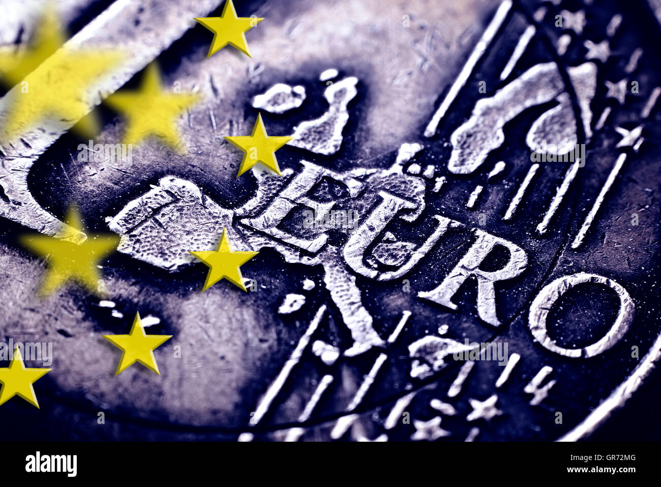 One Euro Coin And Stars Of The European Union - Stock Image