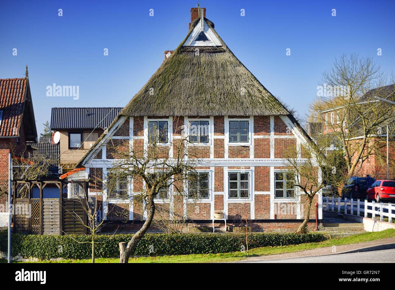 Half-Timbered House In Hamburg, Germany - Stock Image