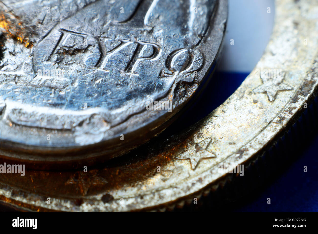 Destroyed Greek Euro Coin, Grexit - Stock Image