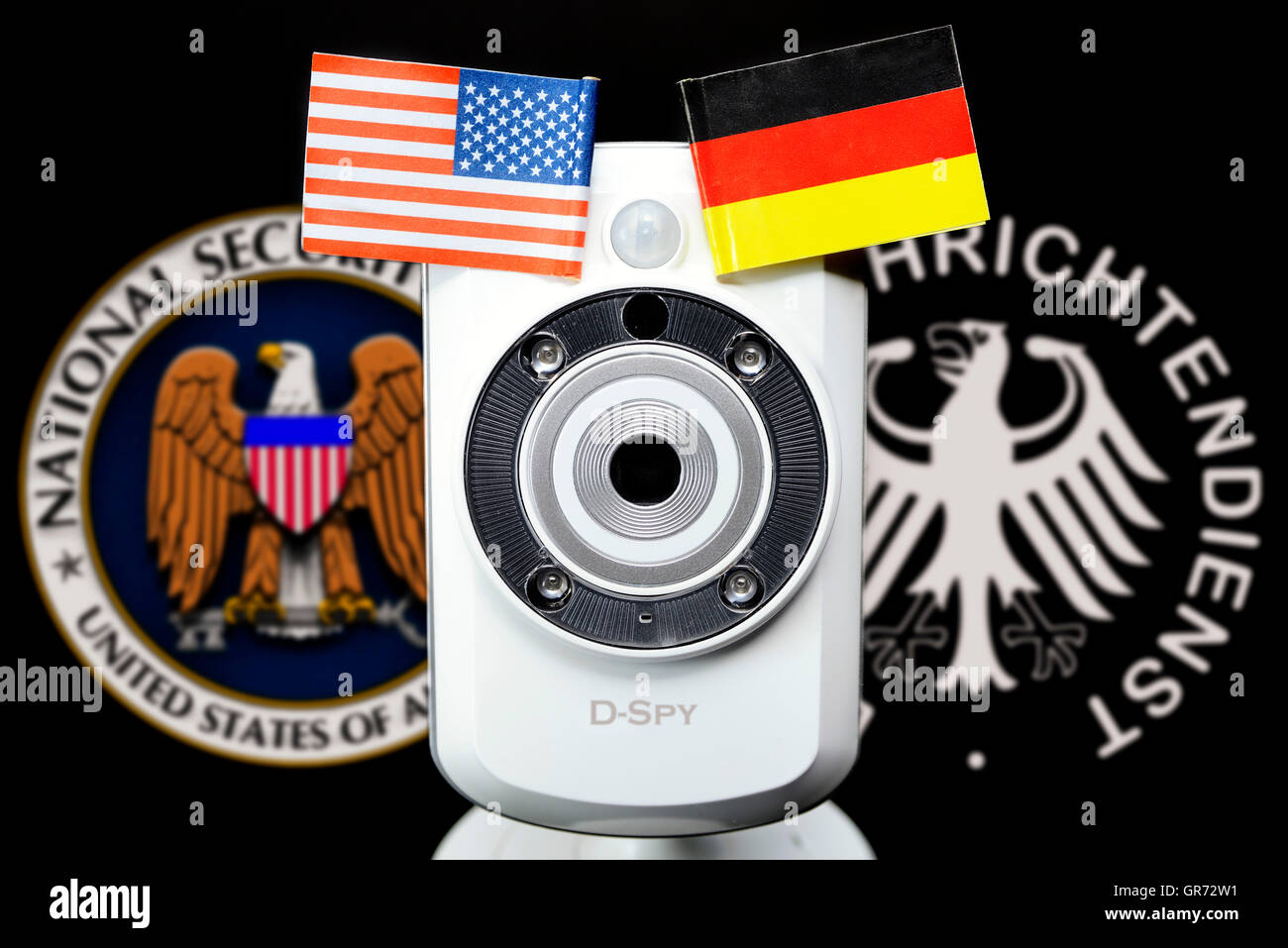 Webcam And Emblems Of Nsa And German Bnd, Espionage Scandal - Stock Image