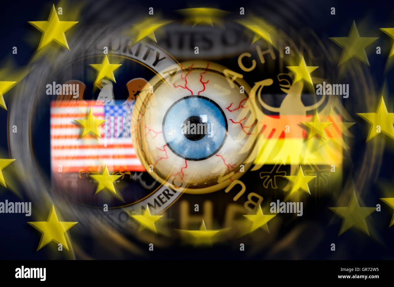 Eye And Emblems Of Nsa And German Bnd, Espionage Scandal - Stock Image