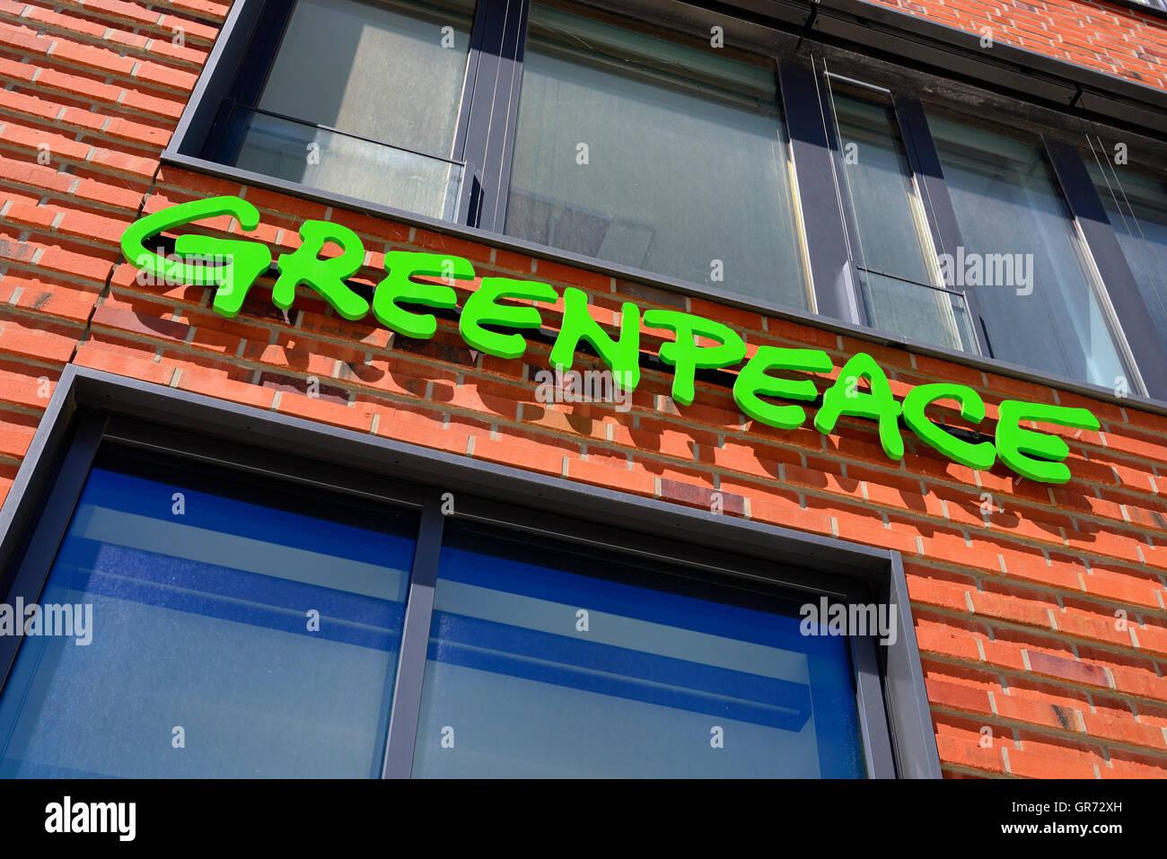 German Head Office Of Greenpeace In Hamburg, Germany - Stock Image
